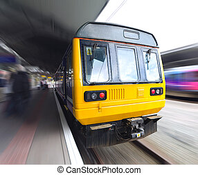 Old Commuter Train with Motion Blur