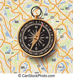 Old compass on map background