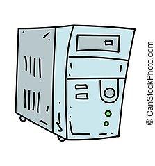 Old computer cartoon hand drawn image