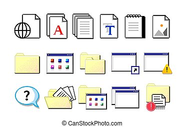 Old computer icons. Retro pixel signs. Yellow folders and white sheets of documents. Isolated nostalgic set. Data storage, information organization. Vector flat style electronic symbols