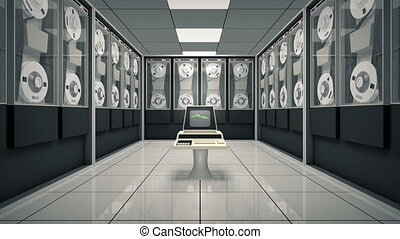 Old computer in an animated room