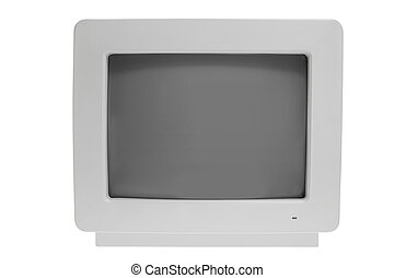 Old Computer Monitor on White Background