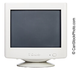Old computer monitor - Vintage CRT computer monitor on white...