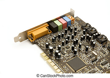 Old computer part (sound card) on a white background