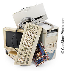 old computer - stack of old and obsolete computer equipment