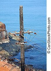 Old concrete pole power line