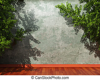 old concrete wall and ivy