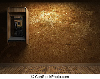 old concrete wall and telephone booth made in 3D graphics