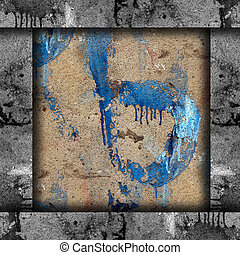 old concrete wall with streaks of blue paint texture wallpaper