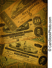 Old Confederate Money Background - Collage of old, dirty and...