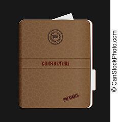 Old Confidential Folder. Clip-art, Illustration.
