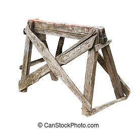 old construction wooden ladder covered in paint, dirt and tape, wooden stand