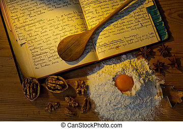an old handwritten cookbook with recipes. old recipes.