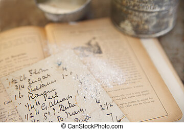 old recipe atop a cookbook from 1894 dusted with flour with vintage sifter and measuring cup in background