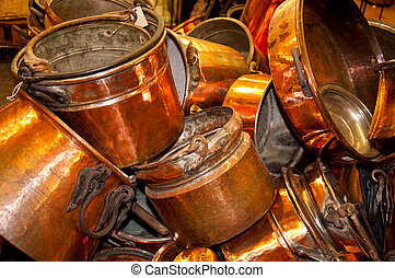 Old cooper pots and pans - Cooper pots for sale