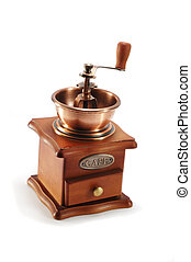 Old copper coffee grinder on white background