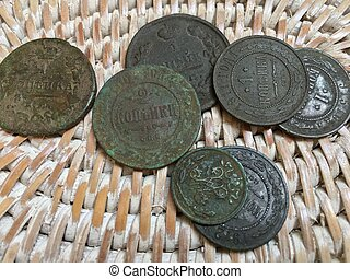 old copper coins of the Russian Empire