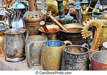Old copper handmade souvenirs