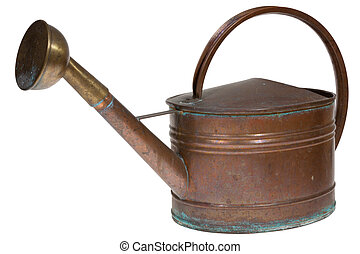 Old copper watering can