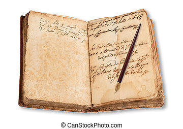 old copybook with nib  isolated on white background