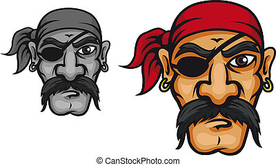 Old corsair captain - Old danger corsair captain in cartoon...