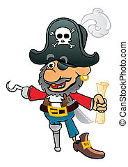 Old corsair - Pirate Captain with hook an treasure map