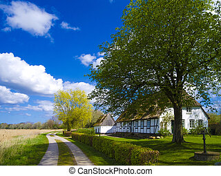 Old cottage with thatched roof in northern germany -...