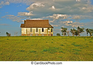 Old country church on hilltop - An old dilapidated country...