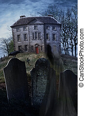 Old country manor on a hill with graveyard