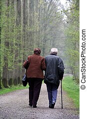 Old couple - An old couple walking in the forest - soft...