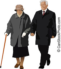 An old couple walking together. Lady has a stick in her hand. Vector color illustration.