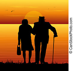 old couple and sea - old couple watching the sea