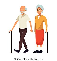 old couple avatar with cane beard bald and glasses vector...