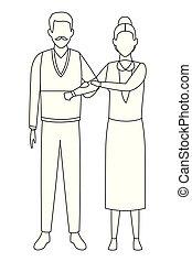 old couple avatars black and white