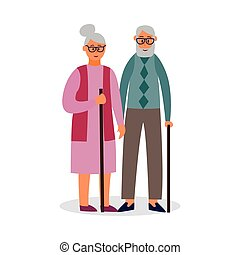 Old couple cartoon characters walking flat vector illustration isolated.