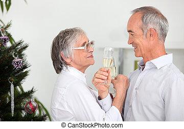 Old couple celebrating Christmas