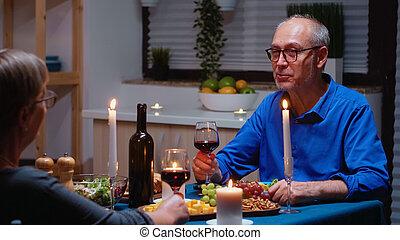 Old couple celebrating marrige