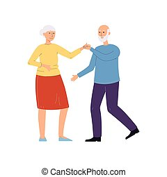 Old couple dance - senior man and woman dancing together in pair