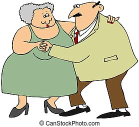 Old couple dancing - This illustration depicts an old man...