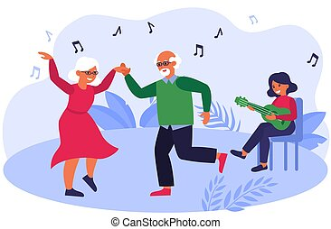 Old couple dancing to music