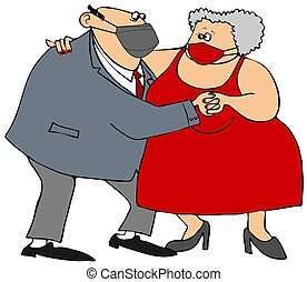 Old couple dancing while wearing face masks