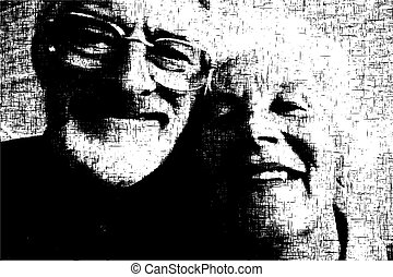 Old couple - Grunge illustration of a happy old couple