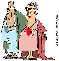 Old couple having their morning coffee