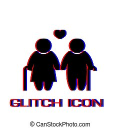 Old couple love people icon flat