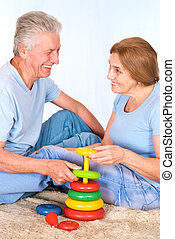 old couple on carpet
