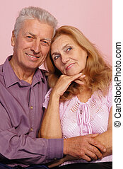 old couple on pink