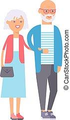 Old couple people illustration.