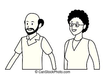 old couple portrait avatar bald beard and glasses