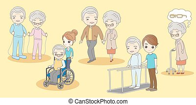 old couple sick and exercise, great for your design