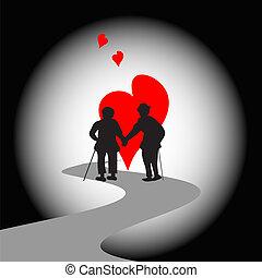 Old couple - Silhouette of happy elderly couple walking...